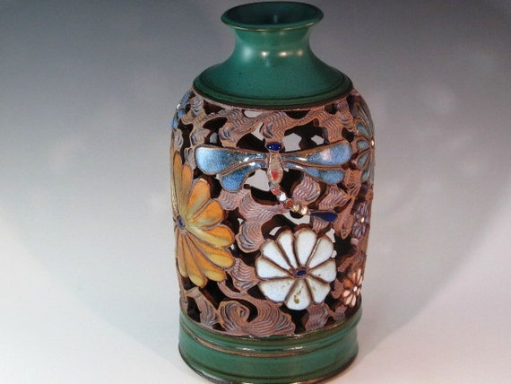 Two Piece Beautiful Luminaire With Green Glaze On Top And Bottom with Flowers And Dragonflies