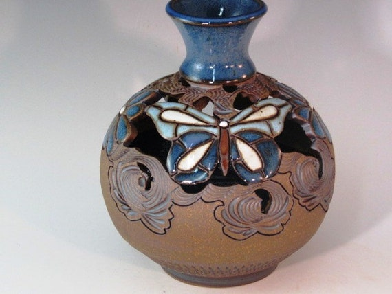 Beautiful Bud Vase With Butterflies And Flowers, Cutouts, And Swirl Design