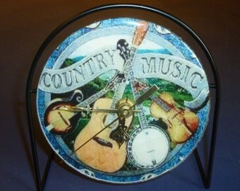 Country Music  Recycled CD Clock Art