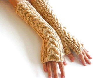 BEIGE LONG Fingerless Gloves, Merino Wool Mittens, Arm Warmers with cable patterns, Hand Knitted, Eco Friendly