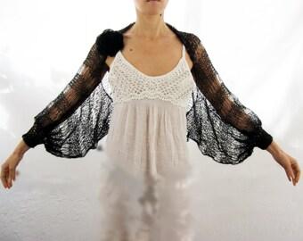 Black Swan...Elegant Hand Knitted Kid Mohair Shrug with Flower Brooch, Women Lace Vest