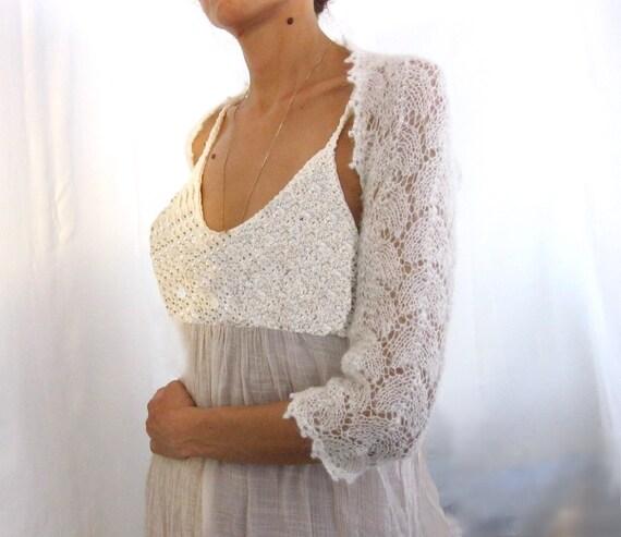 Ivory Lace Wedding Shrug....Elegant Hand Knitted  Shrug