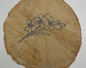 Mat, Grungy, Rustic, Primitive, Bluework, HAND Quilted, HAND Embroidered, Table Mat, Not Round, Candle Mat,  Flowers, Prim Decor