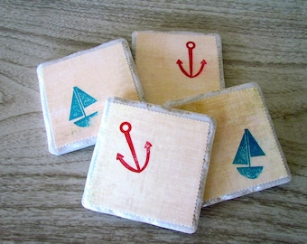 Nautical Tile Coasters with Anchors and Sailboats
