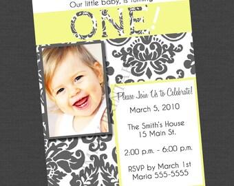 Yellow Grey White Damask 1st Birthday Invitation