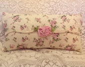 Lovely QUILT PILLOW shabby chic pink and green with velvet rose accent