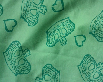 Pretty Green Royal Crowns on Green Cotton French Terry Knit FAbric -