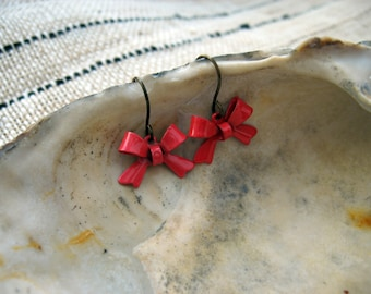 Dainty Red Bow Earrings