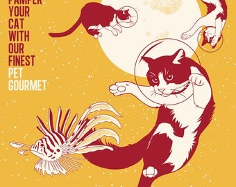 Space Cats A3 Illustrated Poster Digital Print, Voyages Extraordinaires