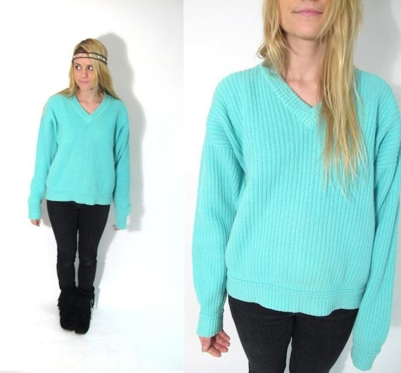 SALE 25% OFF.  Comfy Cotton Slouchy V Neck Sweater in Seafoam