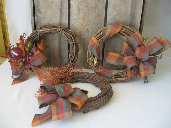 Fall Harvest Thanksgiving Wreaths Set of 3 Small Wreaths Small Space Decoration