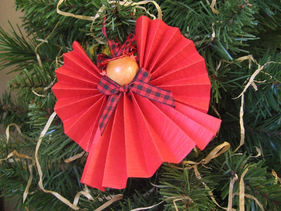Angel Christmas Ornament Red Paper Ribbon Angel Christmas Ornament