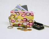Pink bubble dot fabric keychain coin purse