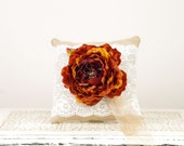 Ring Bearer Pillow - Burlap and lace with burnt orange flower - Fall wedding