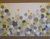 Yellow and Grey Wall Art, Textured Painting, Abstract Flowers,  Acrylic Painting on Canvas
