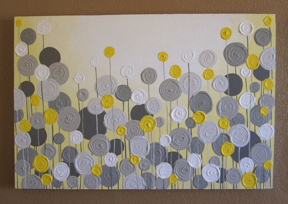 Yellow Black And Gray Wall Decor : Yellow and grey wall art textured painting abstract flowers