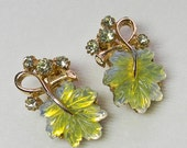 Florenza Earrings Glass Yellow Leaf Molded with Rhinestones