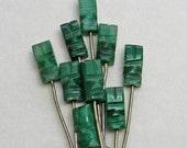 Vintage Cocktail Picks Appetizer Forks Tiki Carved Onyx Green Mid Century
