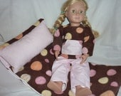 DOLL SLEEPING Bag and Pajama set. Brown fleece. Pink Striped Flannel. American Girl and other 18 inch dolls. - AuntMsCreations
