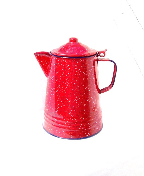 Reserved No longer Available Red, White and Blue Enamel Coffepot