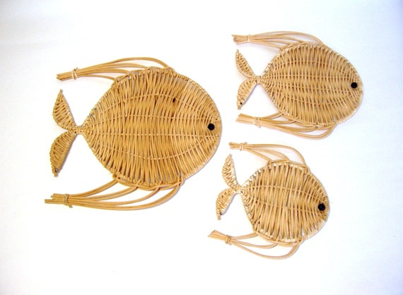 Vintage Wall Decor 3 Wicker Fish Get Your Tiki On