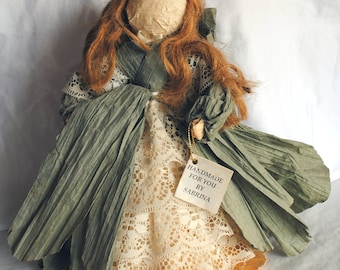 Vintage Handmade Collectible Paper Ribbon Doll Green Cream - Mary Ann