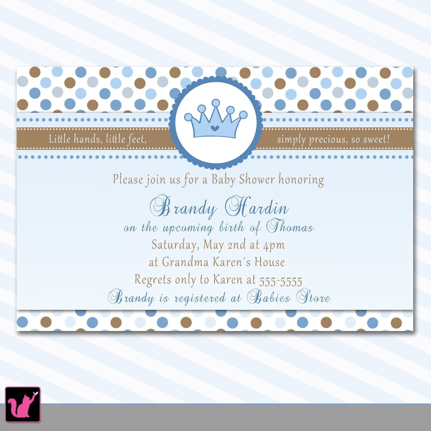 Prince Baby Shower Invitation Card Crown Blue Polka Dots