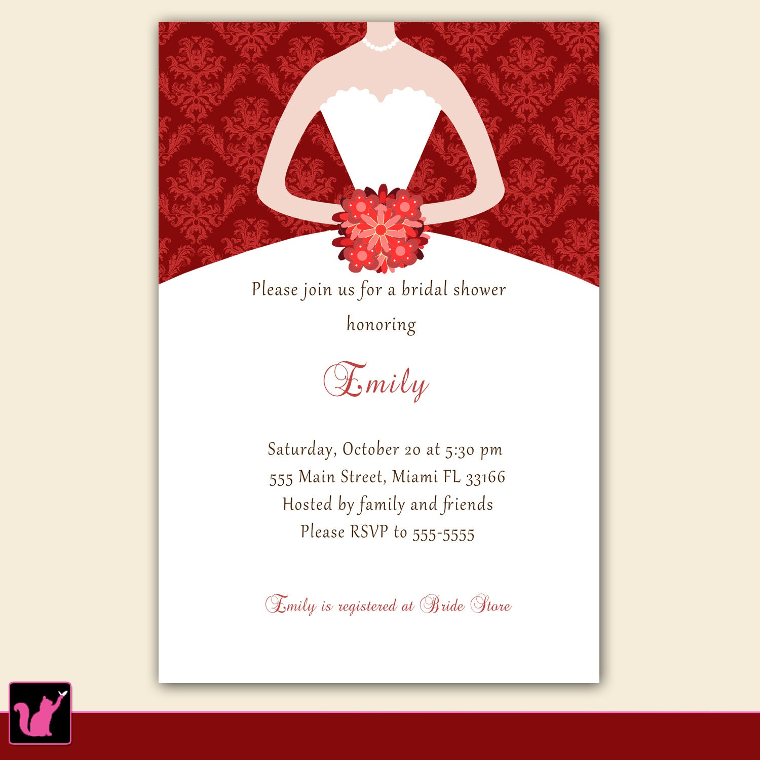 printable personalized christmas bridal shower invitation card 128270zoom