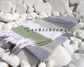 Turkishtowel-High Quality,Hand Woven,Light Cotton Bath,Beach,Pool,Spa,Yoga,Travel Towel or Sarong-White,Black and Olive Green Stripes