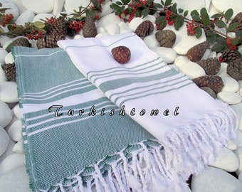 Set of 2-Turkishtowel-Soft-High Quality,Hand Woven,Beach,Pool,Spa,Yoga,Travel Towel or Sarong-Green,White Stripes