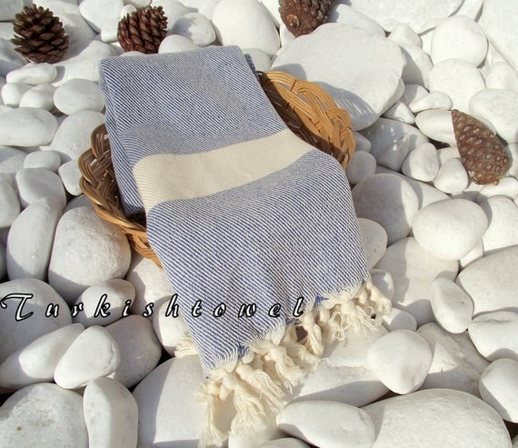 Turkishtowel-High Quality,Hand Woven,Pure Cotton,Hand,Head,Hair Towel or Unisex Neck Warmer-Natural Cream and Blue