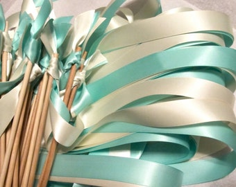 Tie the Knot - Satin Wedding Ribbon Wands - Custom Colors - Pack of 50 - Shown in Aqua and Ivory
