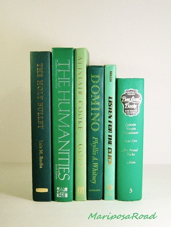 6 Green Tones Book Collection / Interior Design//Decorating with Books/Photo props/Wedding Decor