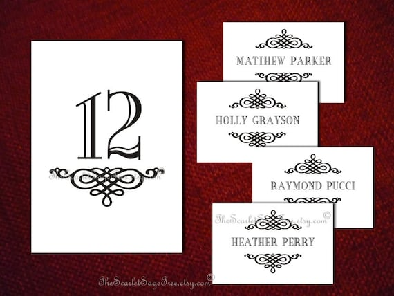 Items similar to printable table number name design pdf for Table number design template