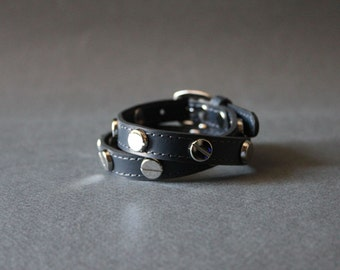 Screw Stud Ornament Leather Bracelet(Dark Grey)