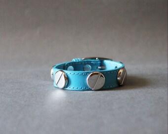 French Stud Leather Bracelet-Medium Size (Persian blue)