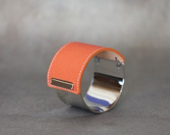 Rhodium Silver Band Leather Bracelet(Orange)