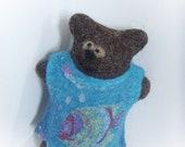 Reserved for Yu Wen jie. Felted art bear. Eco friendly wool toy. Waldorf bear. Cute crossed eyed bear. Bea