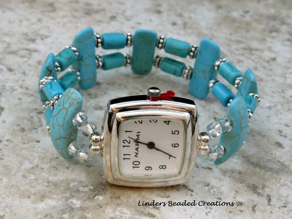 Stretch Beaded Reconstructed Turquoise Watch Band