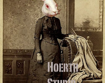 printable rabbit family steampunk  down the rabbit hole Victorian Rabbit family photos  3 Vintage Instant Download
