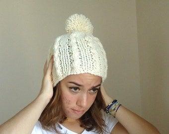 Hand Knit Women Hat,beanie,  fall, winter, adult, teen,ivory, cream,pompom hat.sky hat