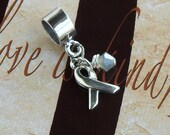 Sterling Silver Allergy, Diabetes, Brain Cancer  Awareness Charm Bead, European Style