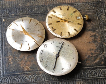 Set of 3 Vintage watch movement, watch parts, watch faces.