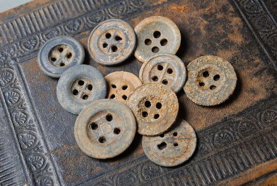 Set of 10 Antique original different buttons (N12)