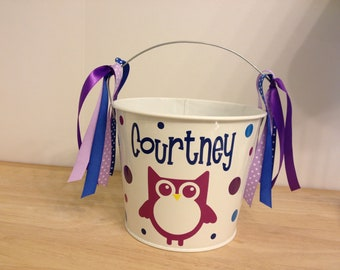 Personalized Easter basket, 5 quart metal bucket, woodsy owl and name, birthday or baby gift, Halloween trick or treat bucket