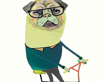 Pug on Bike. illustration print, kids wall art, wall decor, art print, children's art, pug art.