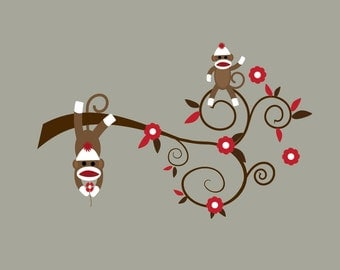 Wall Decals Vinyl Wall Decal Sticker Sock Monkey-e98