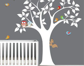 Wall Decal Vinyl Decals Tree with Owl Birds-Nursery Wall Vinyl Sticker