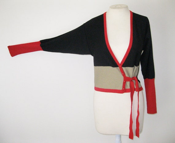 vtg 1980s SONIA RYKIEL Side Tie Cardigan SWEATER