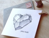 Letterpress, Valentine's Day, Male card, Father's Day, Mother's Day You rock - all occasion, heart  rock, black & white made in Australia